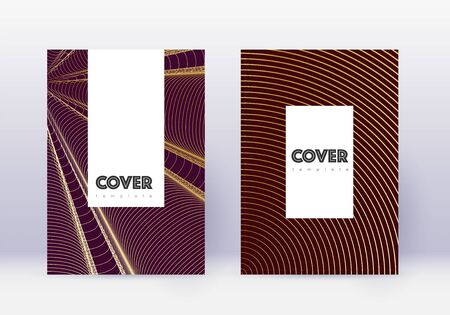 Hipster cover design template set. Gold abstract lines on maroon background. Charming cover design. Lively catalog, poster, book template etc. Stock fotó - 130547916
