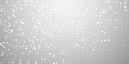 Magic stars random Christmas background. Subtle flying snow flakes and stars on light grey background. Beautiful winter silver snowflake overlay template. Exceptional vector illustration.