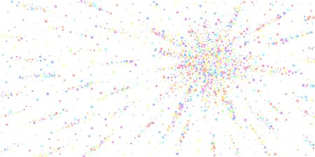 Festive confetti. Celebration stars. Colorful stars dense on white background. Curious festive overlay template. Stylish vector illustration.