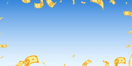 Korean won notes falling. Random WON bills on blue sky background. Korea money. Delightful vector illustration. Emotional jackpot, wealth or success concept.