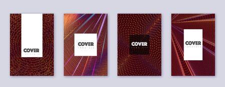 Hipster brochure design template set. Orange abstract lines on wine-red background. Amusing brochure design. Curious catalog, poster, book template etc. Illusztráció