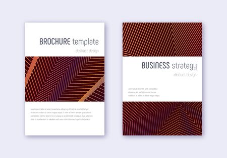 Minimalistic cover design template set. Orange abstract lines on wine red background. Energetic cover design. Amazing catalog, poster, book template etc.