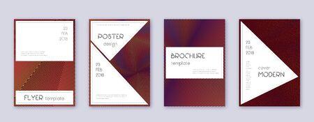 Stylish brochure design template set. Orange abstract lines on wine-red background. Beautiful brochure design. Popular catalog, poster, book template etc. Foto de archivo - 130569067