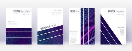 Geometric brochure design template set. Neon abstract lines on dark blue background. Alluring brochure design. Divine catalog, poster, book template etc. Illustration