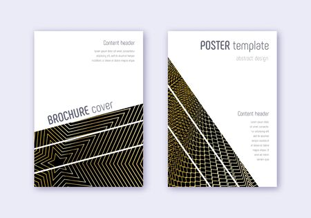 Geometric cover design template set. Gold abstract lines on black background. Bold cover design. Fascinating catalog, poster, book template etc.