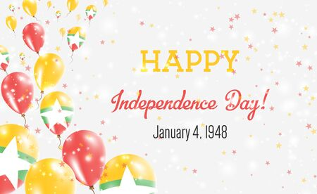 Myanmar Independence Day Greeting Card. Flying Balloons in Myanmar National Colors. Happy Independence Day Myanmar Vector Illustration.