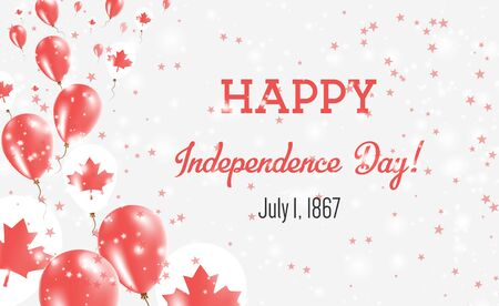 Canada Independence Day Greeting Card. Flying Balloons in Canada National Colors. Happy Independence Day Canada Vector Illustration.