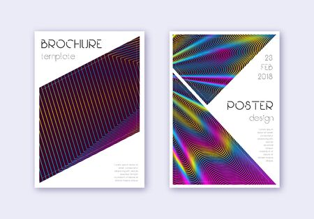 Triangle cover design template set. Rainbow abstract lines on wine red background. Imaginative cover design. Incredible catalog, poster, book template etc.