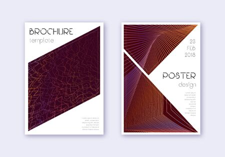 Triangle cover design template set. Orange abstract lines on wine red background. Ideal cover design. Tempting catalog, poster, book template etc. Иллюстрация