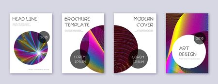 Trendy brochure design template set. Rainbow abstract lines on wine red background. Bizarre brochure design. Stunning catalog, poster, book template etc.