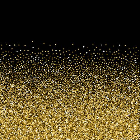 Gold triangles glitter luxury sparkling confetti. Scattered small gold particles on black background. Amazing festive overlay template. Marvelous vector illustration.