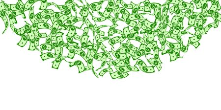 American dollar notes falling. Floating USD bills on white background. USA money. Cute vector illustration. Bizarre jackpot, wealth or success concept.