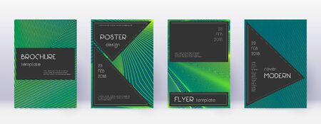 Black brochure design template set. Green abstract lines on dark background. Actual brochure design. Magnetic catalog, poster, book template etc.