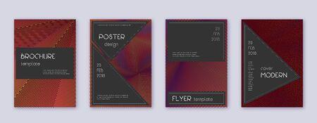 Black brochure design template set. Orange abstract lines on wine-red background. Actual brochure design. Symmetrical catalog, poster, book template etc. Illusztráció