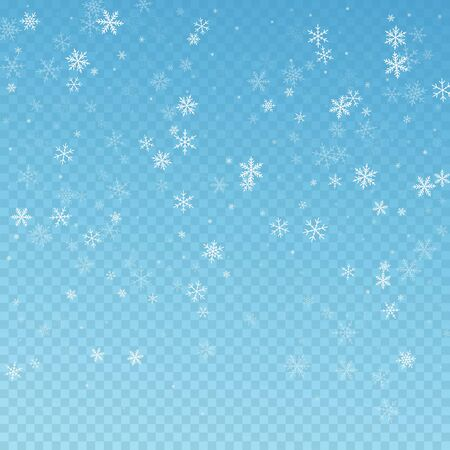 Sparse snowfall Christmas background. Subtle flying snow flakes and stars on blue transparent background. Alluring winter silver snowflake overlay template. Beauteous vector illustration. Illustration