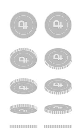Russian ruble rotating coins set, animation ready. Black and white RUB silver coins rotation. Russia metal money. Positive cartoon vector illustration.