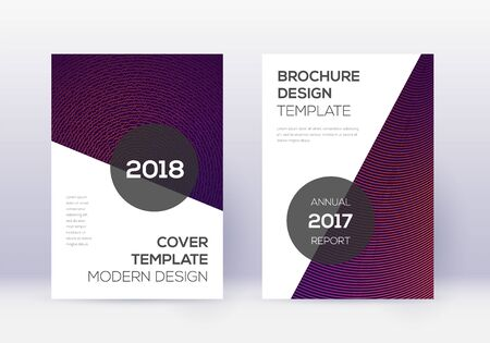 Modern cover design template set. Violet abstract lines on dark background. Fabulous cover design. Wonderful catalog, poster, book template etc. 向量圖像