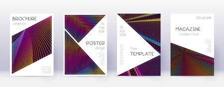Triangle brochure design template set. Rainbow abstract lines on wine red background. Breathtaking brochure design. Original catalog, poster, book template etc.
