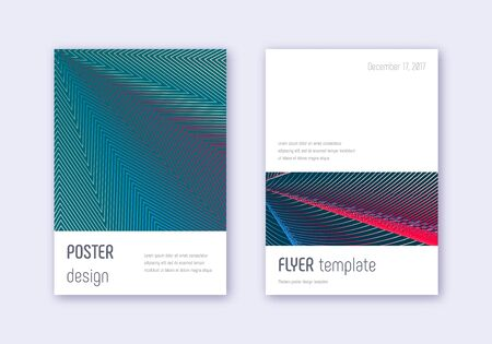 Minimalistic cover design template set. Red white blue abstract lines on dark background. Eminent cover design. Outstanding catalog, poster, book template etc.