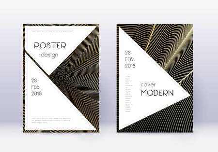 Stylish cover design template set. Gold abstract lines on black background. Fair cover design. Enchanting catalog, poster, book template etc.