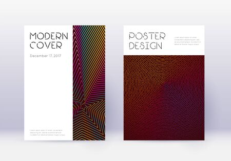Minimal cover design template set. Rainbow abstract lines on wine red background. Decent cover design. Elegant catalog, poster, book template etc. 向量圖像