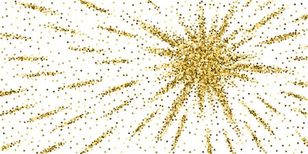 Gold glitter luxury sparkling confetti. Scattered small gold particles on white background. Authentic festive overlay template. Comely vector illustration.