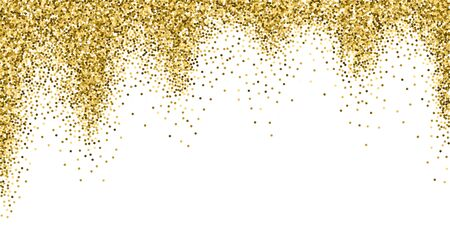 Round gold glitter luxury sparkling confetti. Scattered small gold particles on white background. Bizarre festive overlay template. Symmetrical vector illustration. Çizim