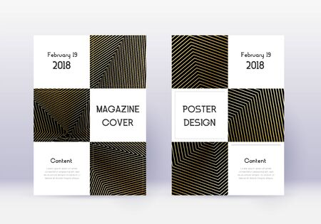 Business cover design template set. Gold abstract lines on black background. Attractive cover design. Majestic catalog, poster, book template etc.
