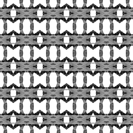 Black and white geometric seamless pattern. Hand drawn watercolor ornament. Brilliant repeating design. Artistic fabric cloth, swimwear design, wallpaper wrapping.