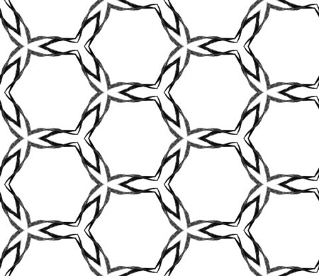 Black and white hexagonal seamless pattern. Hand drawn watercolor ornament. Magnificent repeating tile. Optimal fabric cloth, swimwear design, wallpaper, wrapping. Archivio Fotografico