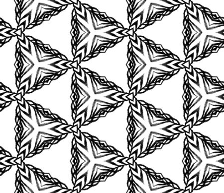 Black and white triangular seamless pattern. Hand drawn watercolor ornament. Majestic repeating tile. Cool fabric cloth, swimwear design, wallpaper, wrapping.