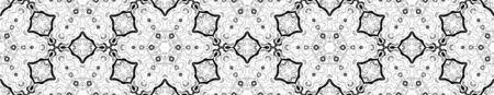 Dark black and white Seamless Border Scroll. Geometric Watercolor Frame. Amazing Seamless Pattern. Medallion Repeated Tile. Classic Chevron Ribbon Ornament.