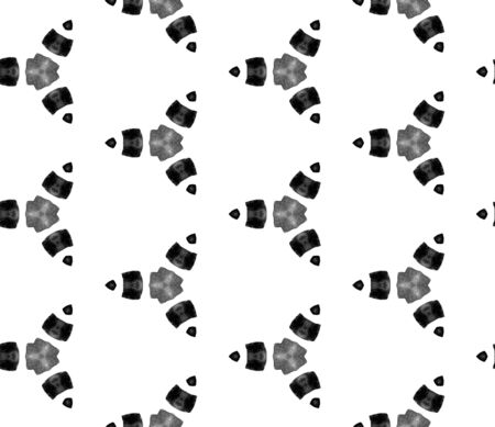 Grey black and white vintage kaleidoscope seamless pattern. Hand drawn watercolor ornament. Surprising repeating tile. Classic fabric cloth, swimwear design, wallpaper, wrapping.