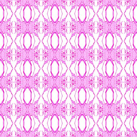 Pink geometric seamless pattern. Hand drawn watercolor ornament. Amusing repeating design. Resplendent fabric cloth, swimwear design, wallpaper wrapping. Imagens