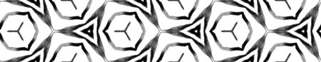Black and white geometric foliage Seamless Border Scroll. Geometric Watercolor Frame. Classic Seamless Pattern. Medallion Repeated Tile. Fresh Chevron Ribbon Ornament.