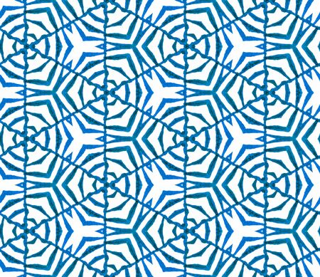 Blue geometric foliage seamless pattern. Hand drawn watercolor ornament. Quaint repeating tile. Great fabric cloth, swimwear design, wallpaper, wrapping.