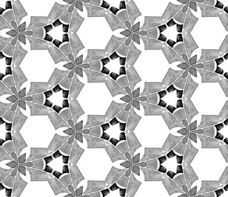 Grey black and white vintage kaleidoscope seamless pattern. Hand drawn watercolor ornament. Superb repeating tile. Wondrous fabric cloth, swimwear design, wallpaper, wrapping. Imagens