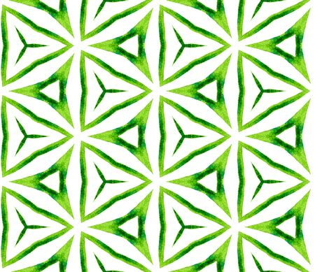 Green kaleidoscope seamless pattern. Hand drawn watercolor ornament. Popular repeating tile. Surprising fabric cloth, swimwear design, wallpaper, wrapping.