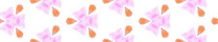 Pink orange retro Seamless Border Scroll. Geometric Watercolor Frame. Decent Seamless Pattern. Medallion Repeated Tile. Favorable Chevron Ribbon Ornament.