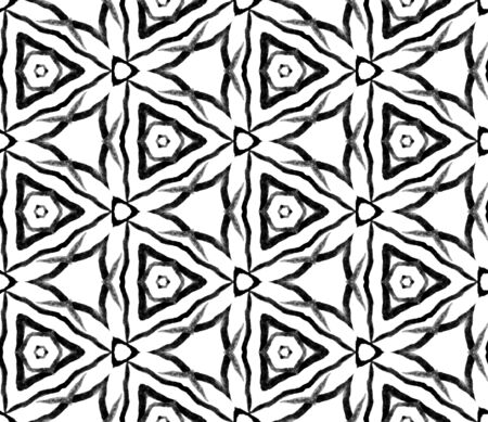 Black and white summer seamless pattern. Hand drawn watercolor ornament. Mesmeric repeating tile. Precious fabric cloth, swimwear design, wallpaper, wrapping.