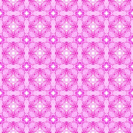 Pink geometric seamless pattern. Hand drawn watercolor ornament. Beauteous repeating design. Bewitching fabric cloth, swimwear design, wallpaper wrapping. Imagens