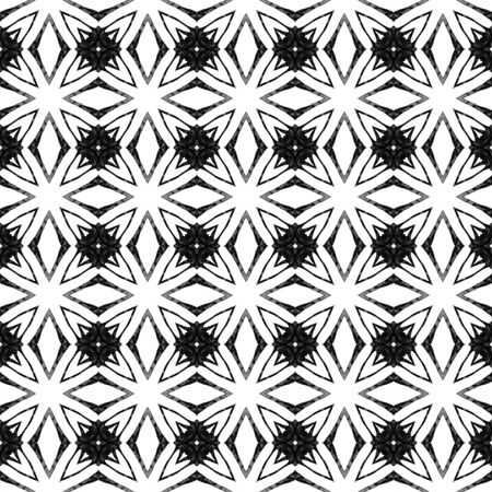 Black and white geometric seamless pattern. Hand drawn watercolor ornament. Bewitching repeating design. Fetching fabric cloth, swimwear design, wallpaper wrapping.