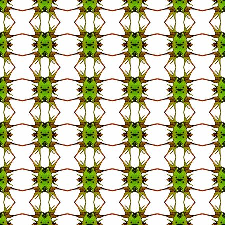 Orange green geometric seamless pattern. Hand drawn watercolor ornament. Alluring repeating design. Remarkable fabric cloth, swimwear design, wallpaper wrapping.