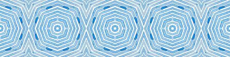 Blue Seamless Border Scroll. Geometric Watercolor Frame. Admirable Seamless Pattern. Medallion Repeated Tile. Lovely Chevron Ribbon Ornament. 免版税图像
