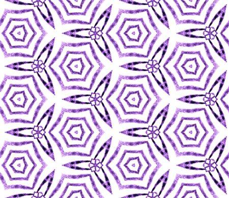 Purple handdrawn seamless pattern. Hand drawn watercolor ornament. Original repeating tile. Artistic fabric cloth, swimwear design, wallpaper, wrapping.