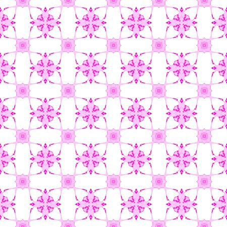 Pink geometric seamless pattern. Hand drawn watercolor ornament. Astonishing repeating design. Brilliant fabric cloth, swimwear design, wallpaper wrapping.
