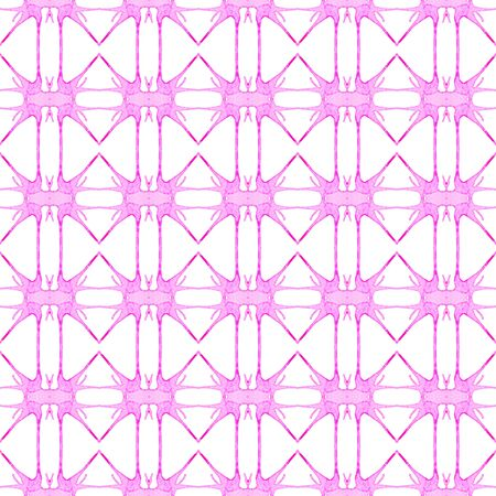 Pink geometric seamless pattern. Hand drawn watercolor ornament. Breathtaking repeating design. Incredible fabric cloth, swimwear design, wallpaper wrapping.