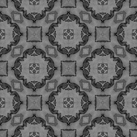Black and white medallion allover seamless pattern. Hand drawn watercolor ornament. Bewitching repeating design. Dazzling fabric cloth, swimwear design, wallpaper wrapping.