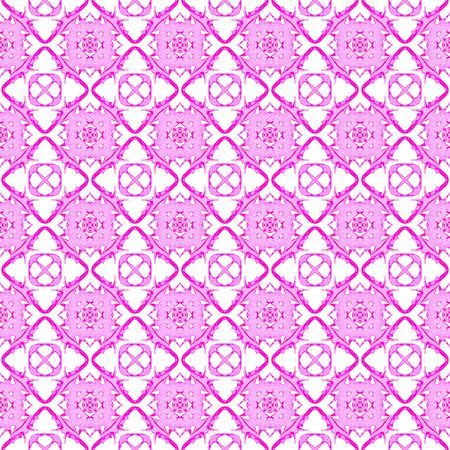 Pink geometric seamless pattern. Hand drawn watercolor ornament. Authentic repeating design. Incredible fabric cloth, swimwear design, wallpaper wrapping.