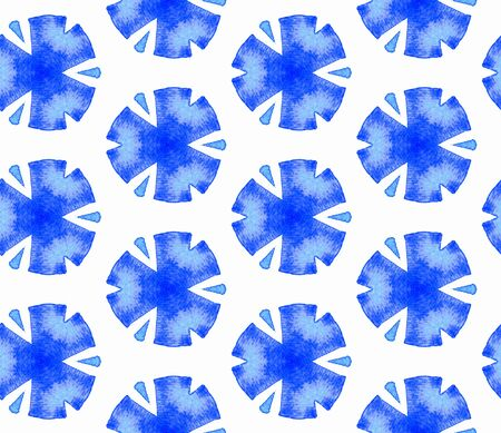 Blue blue vintage seamless pattern. Hand drawn watercolor ornament. Rare repeating tile. Ideal fabric cloth, swimwear design, wallpaper, wrapping. Imagens